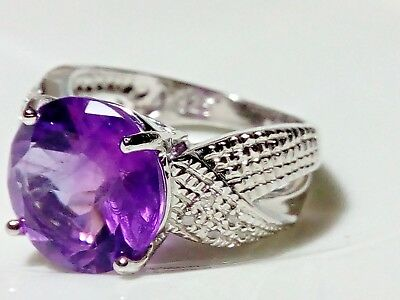 Natural Purple Amethyst & Diamonds 925 Sterling Silver Ring Size 7 (O)