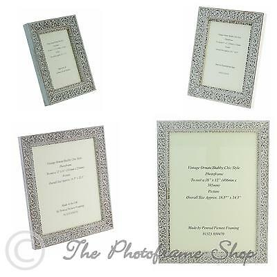 """Ornate Distressed White Shabby & Chic Ornate Vintage Picture Frame 7""""x5""""-16""""x12"""""""