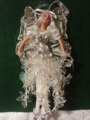All White/Silver Fairy Christmas Ornament with Flowers, Beads, Lace, Glitter #2