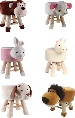 New Children Kid Footstool Pouffe Round Seat Foot Rest Wood Wooden Animal Chair