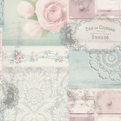 Vintage Shabby Chic Patchwork Wallpaper Pink Blue Grey Ophelia M1425