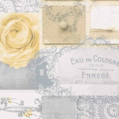 Vintage Shabby Chic Patchwork Wallpaper Yellow Grey Ophelia M1427