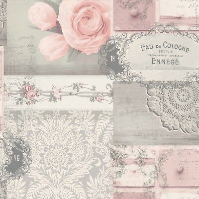 Vintage Shabby Chic Patchwork Wallpaper Pink Grey Ophelia M1426