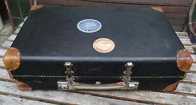 Antique suit case Antiker DRP Nievol Revelation Deko Oldtimer Leder Koffer 1920