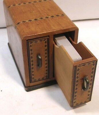 Vintage Art Deco 2 Deck Wooden Parquetry Playing Card Storage Box W Drawers