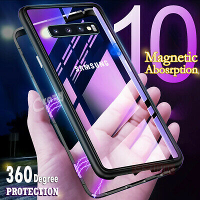 Magnetic Tempered Glass Case Cover Samsung Galaxy S8 S9 S10 Plus S10E Note 8 9