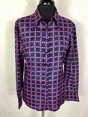 PANCALDI VINTAGE '70 Camicia Donna Seta Optical Silk Woman Shirt Sz.S - 40