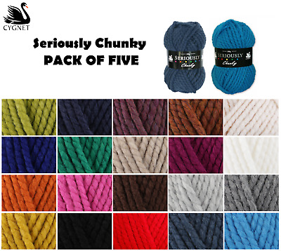 5 x 100g Balls PACK DEAL Cygnet Seriously Chunky Wool Acrylic Yarn - 22 Colours