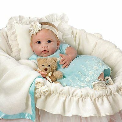 Ashton Drake You Are So Beautiful Baby Doll with wicker basket By Linda Murray