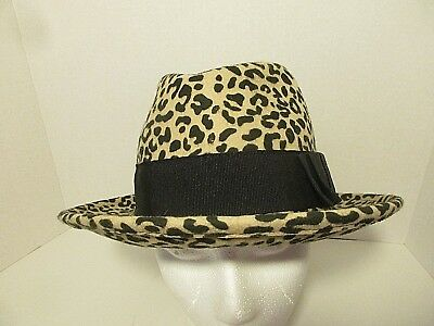 cd85be102eb HELENE BERMAN LONDON Womens Wool Leopard Print Fedora Hat MINT NWOT ...