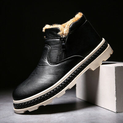 FASHION Men's Martin Boots Winter Warm Leather Shoes Mens Waterproof Flat Shoes