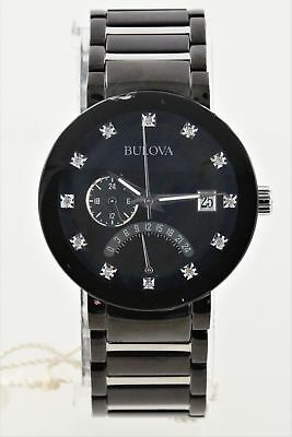 Pre-Owned Bulova Men's Diamond Accented Black Watch 98D109 Scratched Crystal