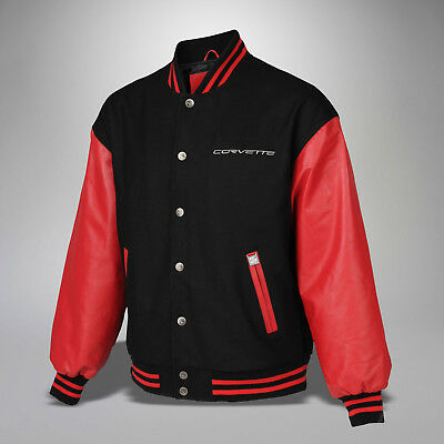 Mens Corvette Varsity Jacket (Red Black) Leather & Wool -5X 5XLT Extra Long Tall