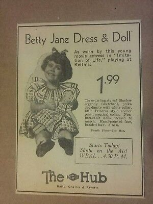 1934 Betty Jane Dress & Doll Ad At The Hub