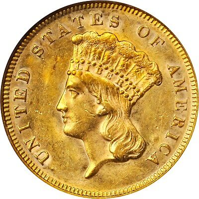 1878 $3 Three Dollar Gold Piece NGC MS 62 Lustrous and Very Attractive