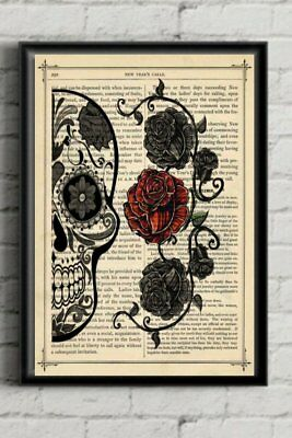 Sugar Skull Art Red Rose Print Day of The Dead Poster Dictionary Print Gift
