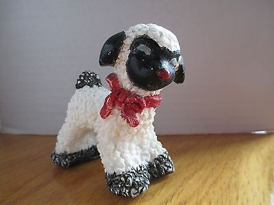 Vintage Lamb Figurine made out of salt-White with Black Face, ears, and Tail