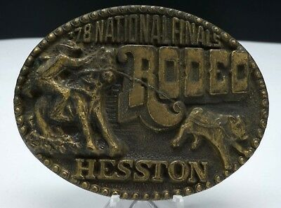 1978 Hesston NFR National Finals Rodeo Cowboy Western Belt Buckle 4th Edition