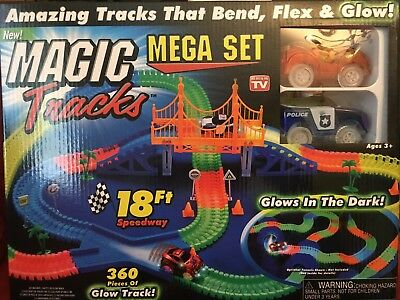 Magic Tracks 18 ft 360 Pcs Mega Set With 2 LED Race Cars Glow In The Dark