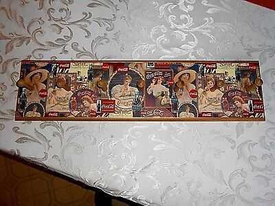 Coca Cola vtg wood marked 1996 wood coat rack / hat rack 7 pegs 7 1/2 by 29 1/2