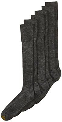 Gold Toe Mens Windsor Wool Over the Calf Dress Sock, Charcoal, 3-Pack, Size