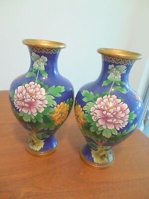 Large Oriental Cloisonne Vases, Pair, With Beautiful Floral Scenes, Brass