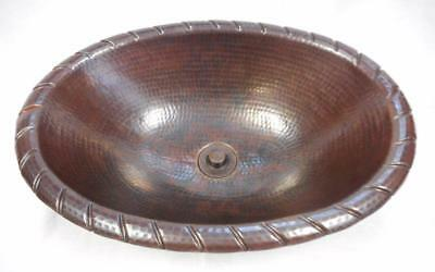 "19"" Oval Copper Rope Rim Decorative Edge Sink Drop In or Vessel with LT Drain"