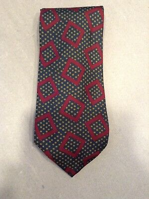 Vintage Paul Stuart Green/Red Geometric Print Necktie,100% Silk,Made in the USA,