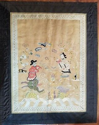 Antique CHINESE Asian GOLD SILVER Silk Thread Kesi Tapestry Late 1800's 1900's