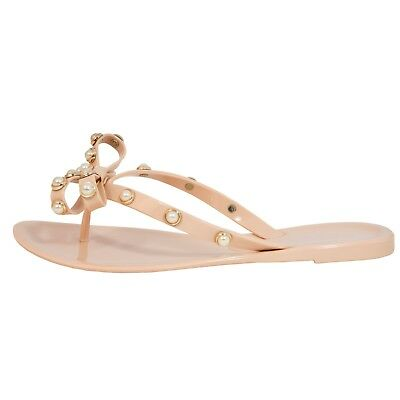 e4b4ce34624c Women s PEARL Bow Jelly Sandal Thong Valentino Studded Rockstud Bow Flat  Strap