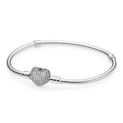 Pandora Sterling Silver Bracelet With Pave Heart Clasp & Clear CZ