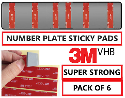 6 x Number Plate Sticky Pads fixings Double Sided Car Plate Fixing Strong Tape