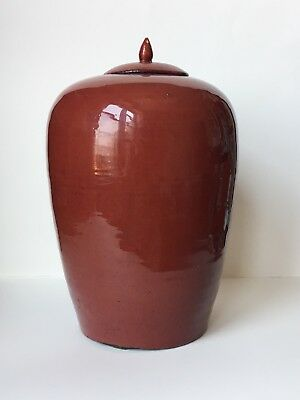 Antique 19th C Chinese Oxblood Red Glazed Porcelain Jar Qing