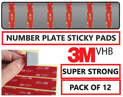 12 x Number Plate Sticky Pads fixings Double Sided Car Plate Fixing Strong Tape