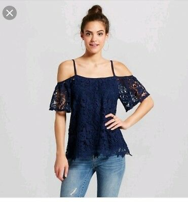 db92cf18f02616 Xhilaration Womens L Navy Blue Lace Cold Off The Shoulder Top Blouse Tank  Shirt