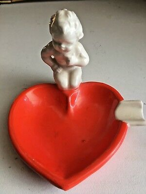 Vintage ceramic ashtray or pin tray.Red heart and child.Stamped 4692. height 9cm