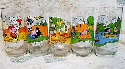 """Complete Set Of 5 Charles Schultz PEANUTS """"Camp Snoopy"""" McDonalds Glasses"""