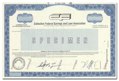 Collective Federal Savings & Loan Specimen Stock Certificate (Egg Harbor, NJ)