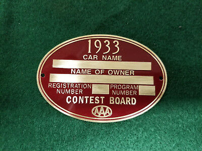 AAA Contest Board 1933 RACE Speed Data Plate Acid Etched Brass