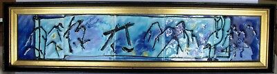 Vintage Mid Century Modern Tile Wall Art Painting Bird Asian Calligraphy Finland