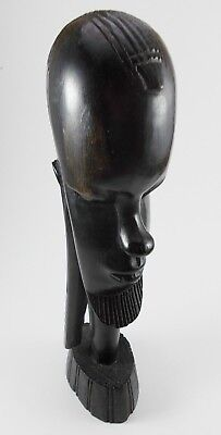 Ebony Wood Sculpture BUST African Head Hand Carved Vintage Tribal Statue Black