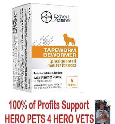 Bayer Expert Care Tapeworm Dewormer Dogs 5 tablets Dog Puppy