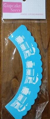 12x train blue Cupcake Toppers & Wrappers Birthday Party Cake Lolly Baby Shower