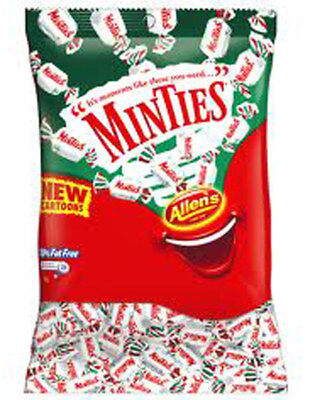 1kg ALLENS MINTIES CHEWY MINT LOLLIES BULK CANDY WHITE SWEETS INDIVIDUAL WRAPPED