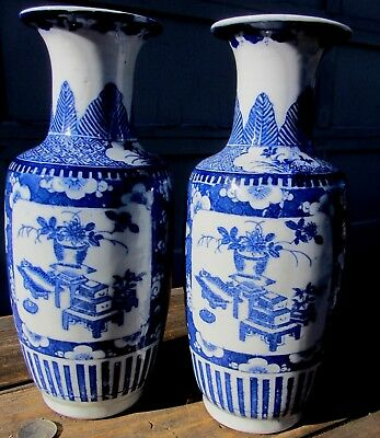 Beautiful Pair Chinese Blue & White Rouleau Porcelain Vases Prunus Antique