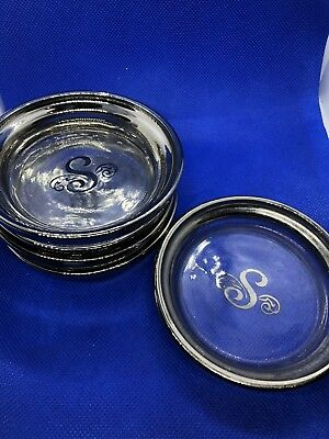 """Vintage Silver And Glass """"S"""" Monogram Coasters, Set Of 5"""