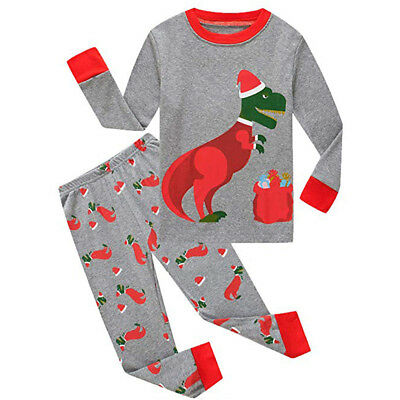 US Kids Baby Girls Boys Christmas Dinosaur Tops T-shirt Leggings Clothes Pajamas
