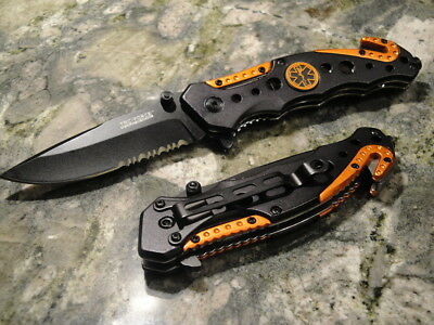 TAC Force Assisted Opening Tactical Folding Knife, Black Half-Serrated