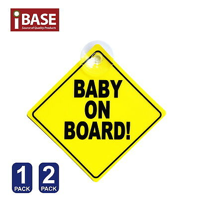 Baby on Board Safe Sign Safety Car Window Display Yellow Plastic Suction Stick