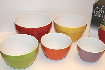 NEW Set of 5 Classic Mixing Bowls Tabletops Gallery Nesting Colorful